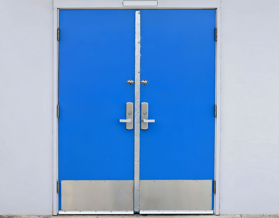 Blue metal doors