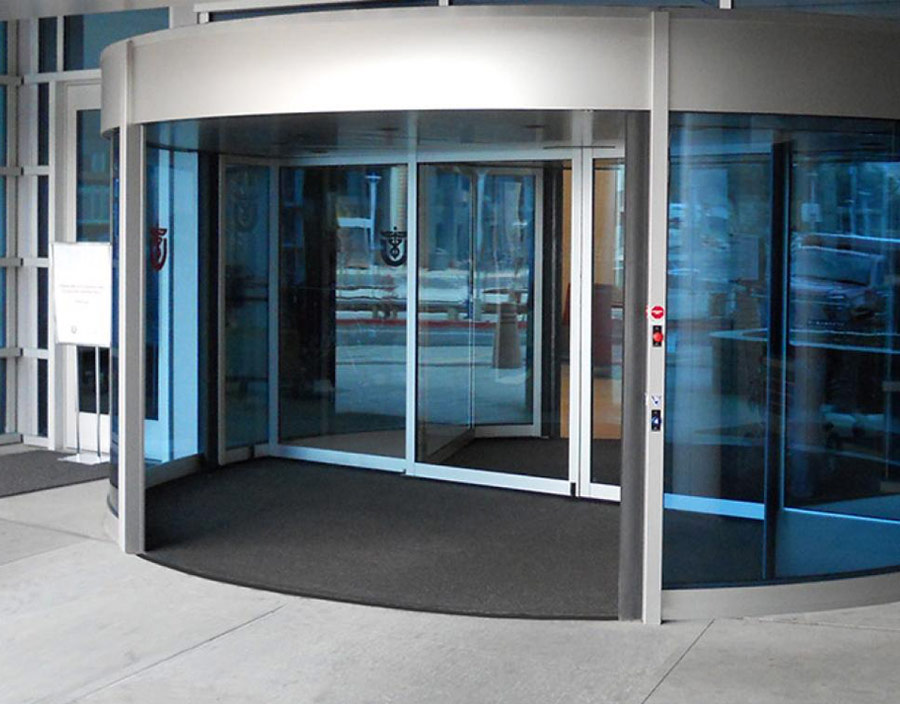 revolving door with silver trim
