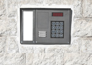 Access Control Panel Embedded in brick wall