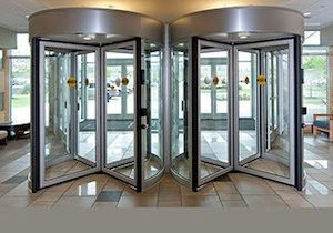 two beautiful revolving doors